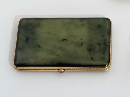 A JEWELLED TWO-COLOR GOLD NEPHRITE CIGARETTE-CASE