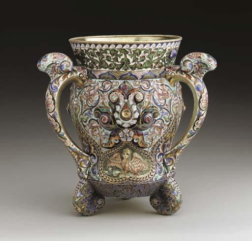A SILVER-GILT CLOISONNÉ ENAMEL THREE-HANDLED CUP ('KRIUSHONNITSA')
