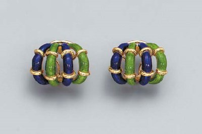 A PAIR OF ENAMEL AND GOLD EAR