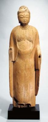 Wood Standing Figure of Buddha