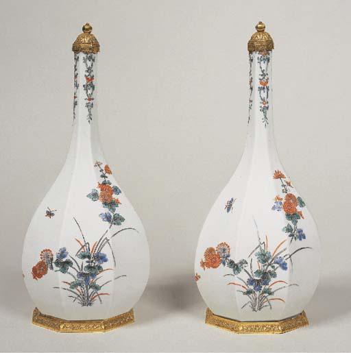 A Pair of Porcelain Faceted Va