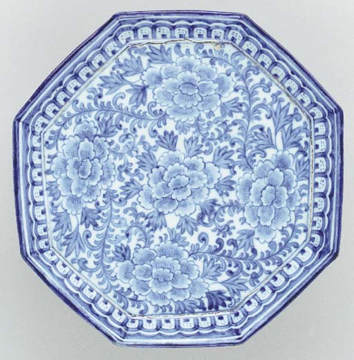 An Octagonal Blue and White Po