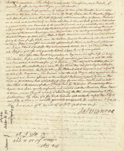 MONROE, James. Letter signed (