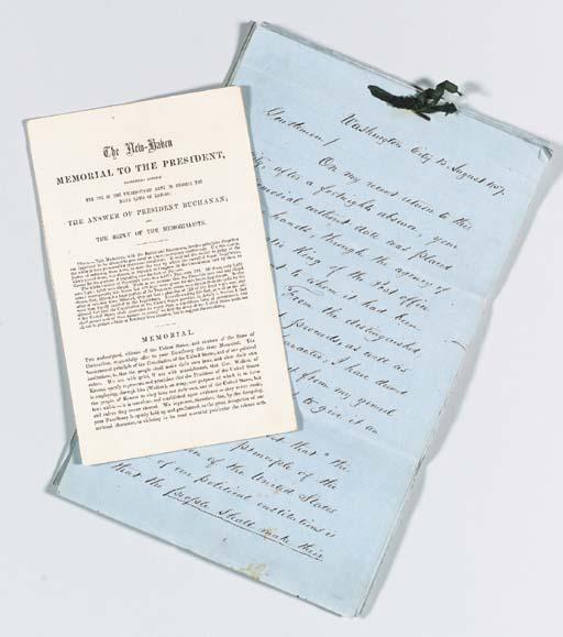 BUCHANAN, James. Letter signed