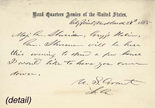 GRANT, Ulysses S. Autograph no