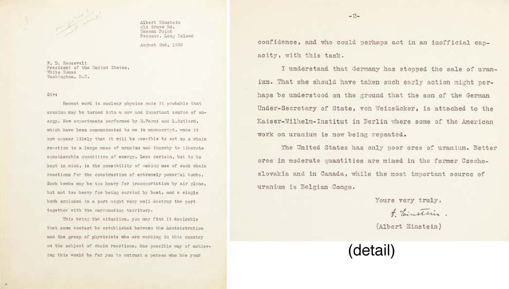 """EINSTEIN, Albert. Typed letter signed (""""A. Einstein"""") TO PRESIDENT FRANKLIN DELANO ROOSEVELT, Peconic, Long Island, 2 August 1939, 1½ pages, 4to (10 7/8 by 8½ in.), on one side each of two sheets of typewriter bond paper, tiny punctures in upper right corners from stapling faint penciled note by Leo Szilard at top: """"Original, not sent!"""""""