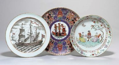 TWO CHINESE EXPORT PLATES AND