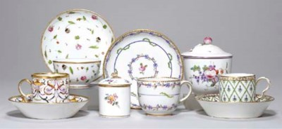 FOUR FRENCH CUPS AND SAUCERS,
