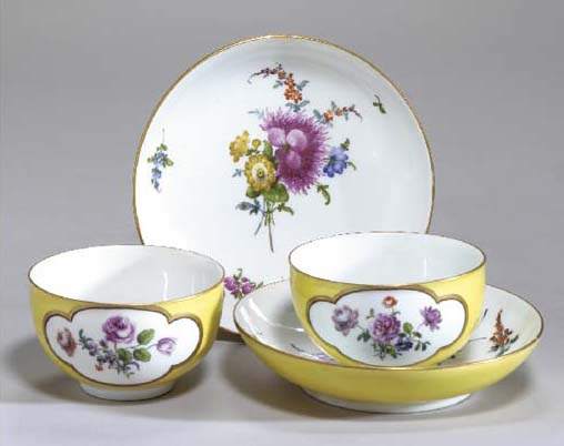 TWO MEISSEN YELLOW-GROUND TEAC