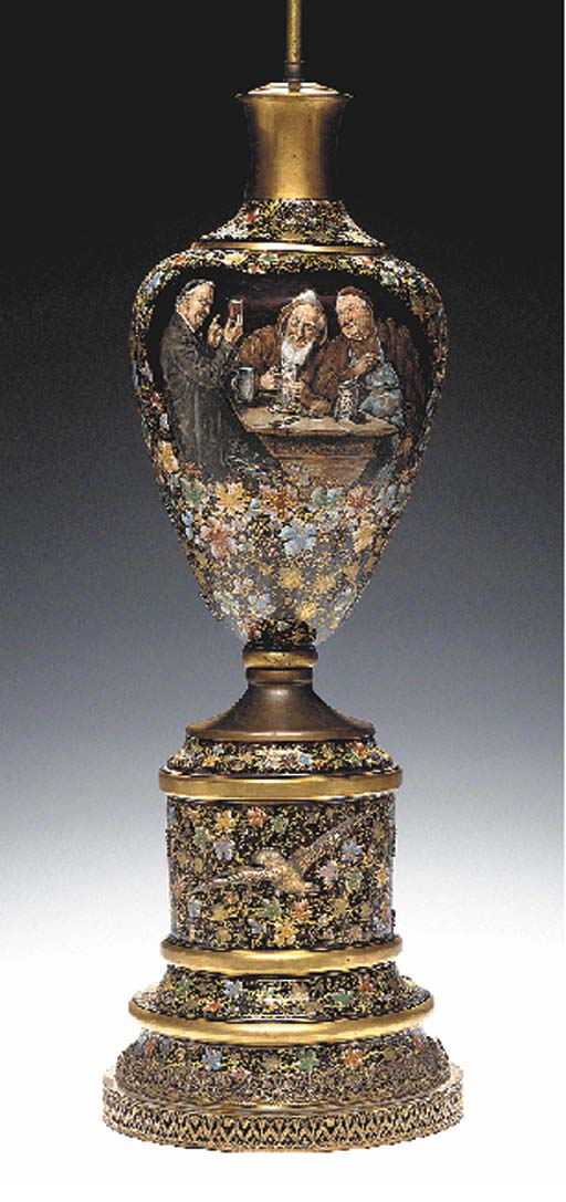 A MOSER GILT AND ENAMELED RUBY