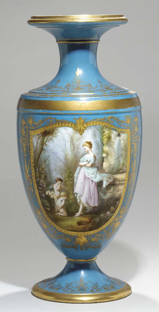 A SEVRES STYLE TURQUOISE GROUN