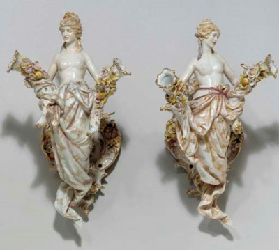 A PAIR OF GERMAN FIGURAL WALL-