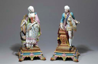 A PAIR OF FRENCH PAINTED BISCU