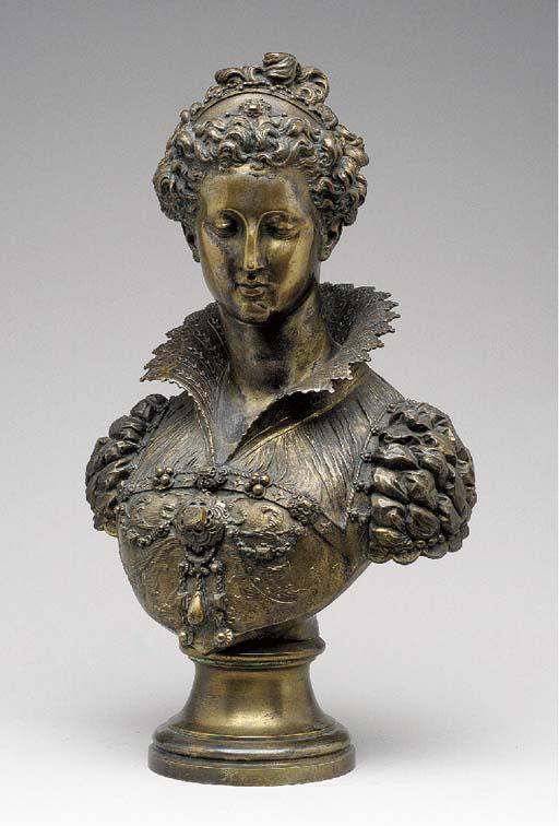 A French gilt-bronze portrait