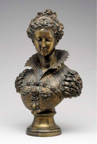 A French gilt-bronze portrait