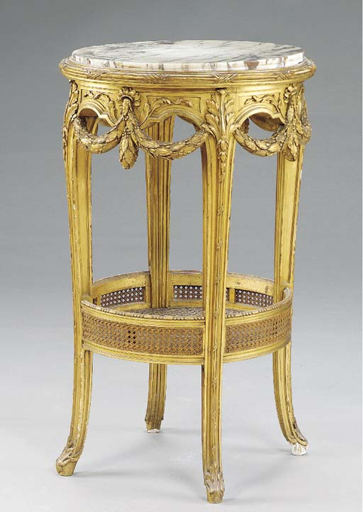 A French giltwood gueridon,