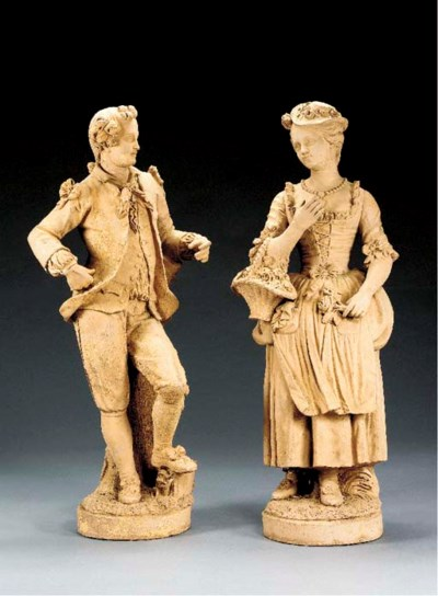 A pair of French terracotta fi