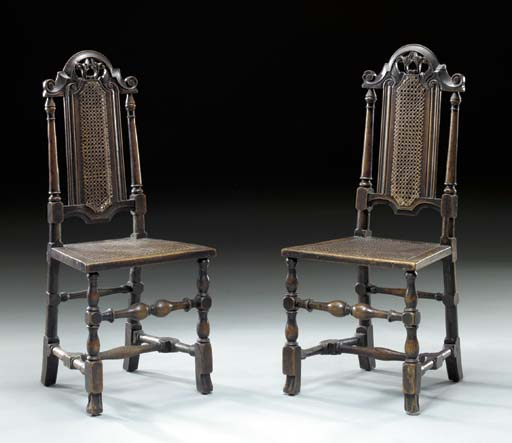 A PAIR OF WILLIAM AND MARY OAK