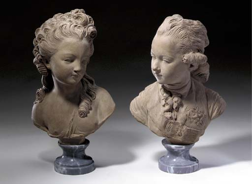 A PAIR OF FRENCH TERRACOTTA BU