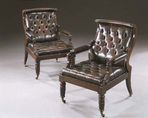 A PAIR OF WILLIAM IV STYLE MAH