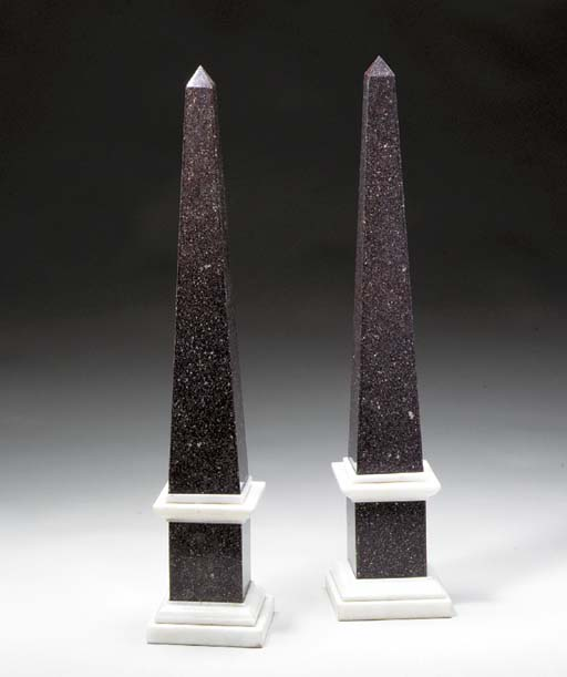 A PAIR OF PORPHYRY-VENEERED OB