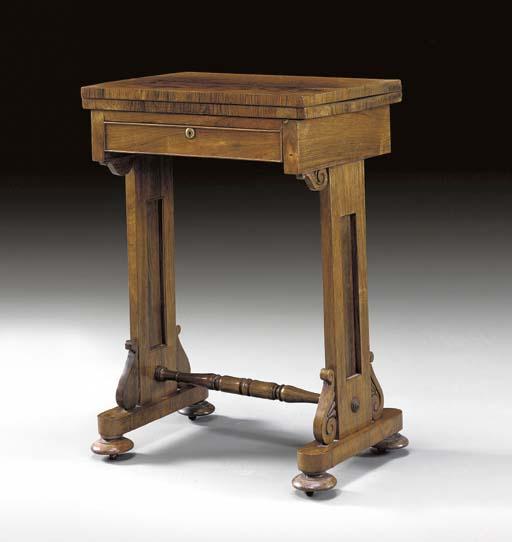 A GEORGE IV ROSEWOOD WORK TABL