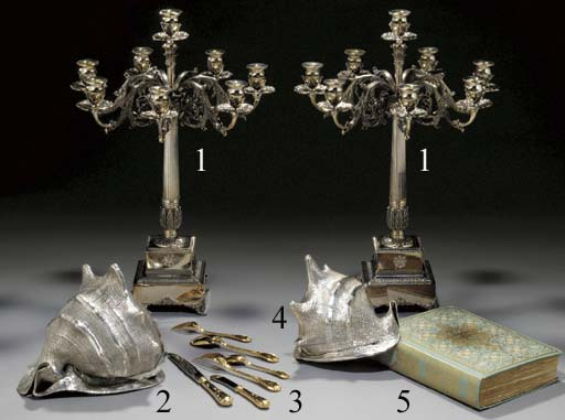 A PAIR OF SILVER CANDELABRA, BY NARDI