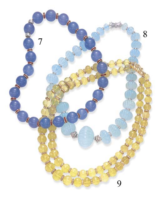 A SINGLE-STRAND BLUE CHALCEDONY, RUBY AND DIAMOND NECKLACE