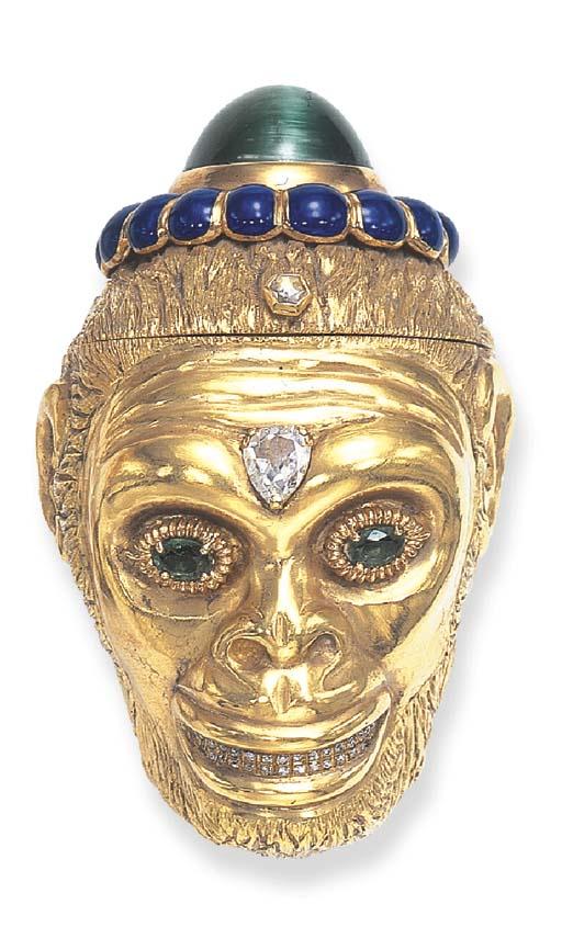 AN AMUSING DIAMOND, EMERALD, CAT'S EYE TOURMALINE AND ENAMEL MONKEY BOX, BY DAVID WEBB