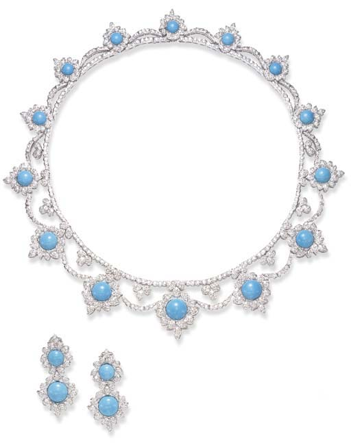 AN ATTRACTIVE SUITE OF TURQUOISE AND DIAMOND JEWELRY