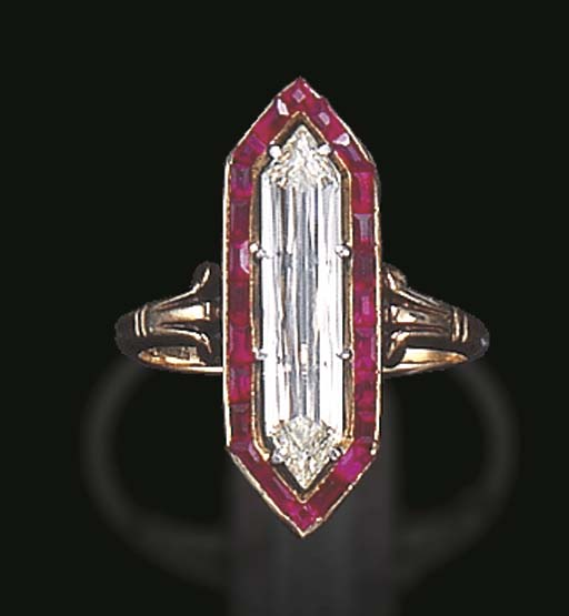 AN ELEGANT BELLE EPOQUE DIAMOND AND RUBY RING