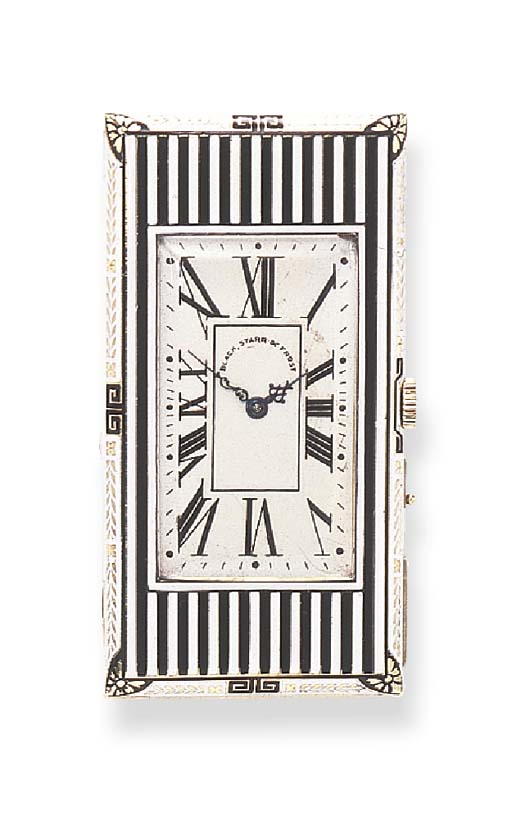 AN ATTRACTIVE ART DECO ENAMEL AND GOLD TRAVEL CLOCK AND CIGAR CUTTER, BY BLACK, STARR & FROST