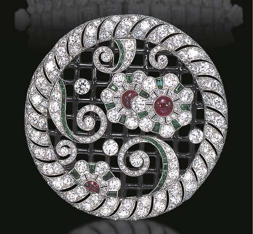 AN EXQUISITE ART DECO DIAMOND, EMERALD, RUBY, AND ENAMEL BROOCH