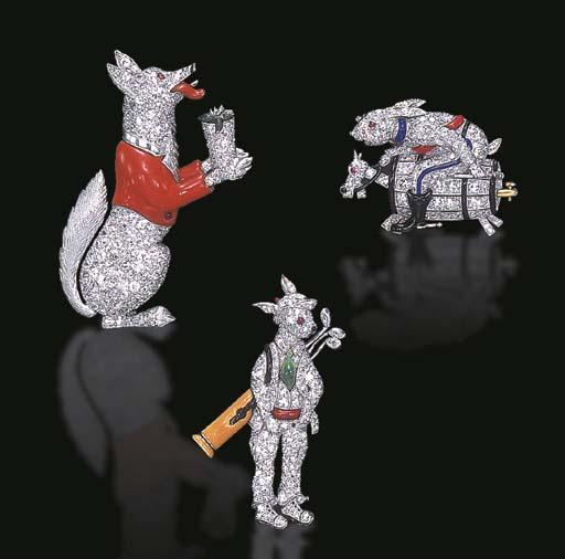 AN AMUSING GROUP OF GEM-SET AND ENAMEL ANIMAL BROOCHES, BY RAYMOND C. YARD