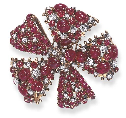 "A RUBY AND DIAMOND ""SIX RIBBONS LOOPS"" BROOCH, BY JEAN SCHLUMBERGER"