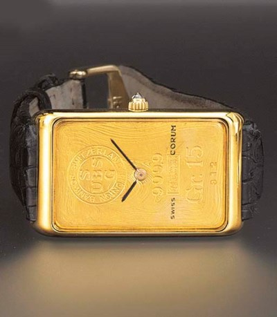 Corum. An 18K gold rectangular
