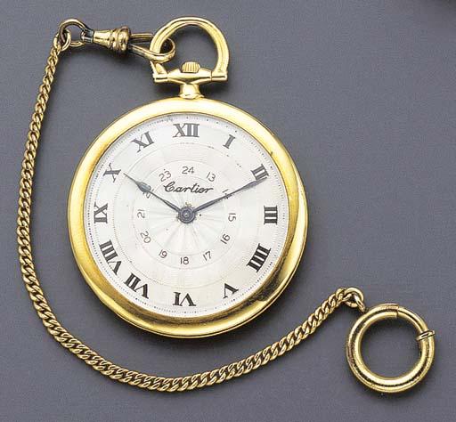 Cartier. An 18K gold openface keyless lever dress watch