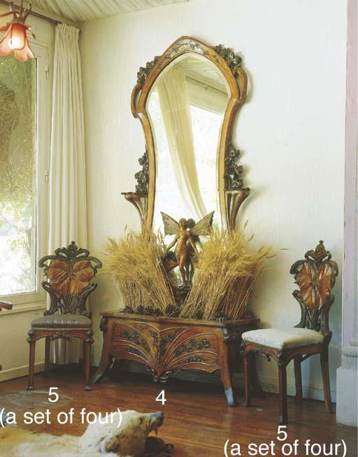 A Continental Art Nouveau carv