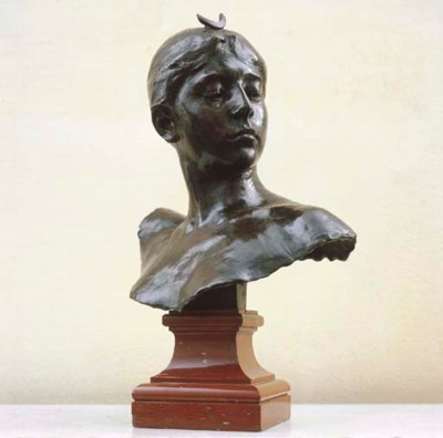 A French bronze bust of Diana