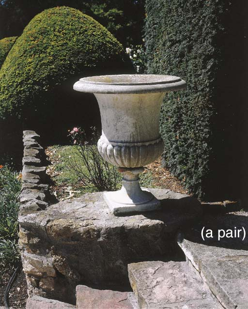 A pair of Italian marble campa