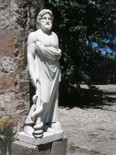 A white marble figure of Moses