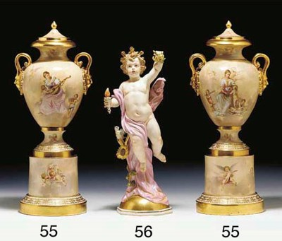 A PAIR OF VIENNA STYLE PORCELA