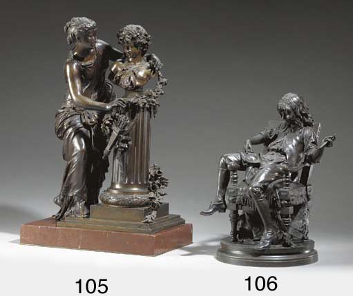 A Louis XVI style patinated-br
