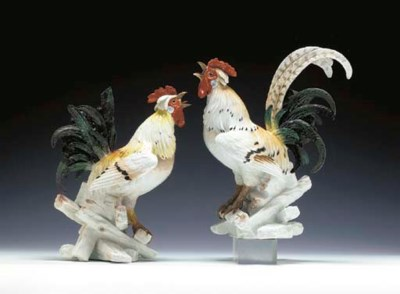 TWO LARGE MEISSEN PORCELAIN MO