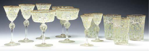 A LOBMEYR STYLE GLASS HEXAGONA