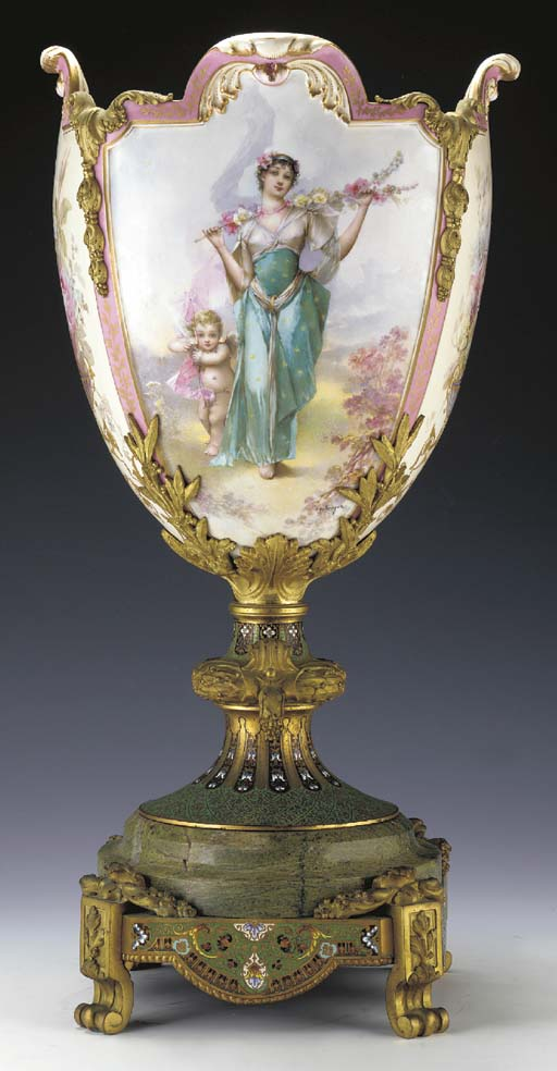 A CHAMPLEVÉ AND ORMOLU-MOUNTED