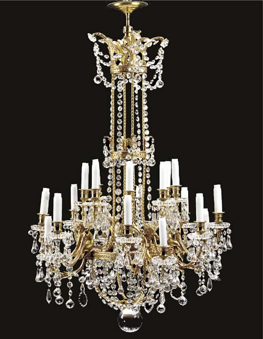 A French ormolu and crystal tw
