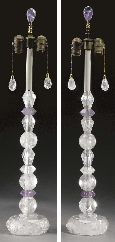 A pair of rock crystal and ame