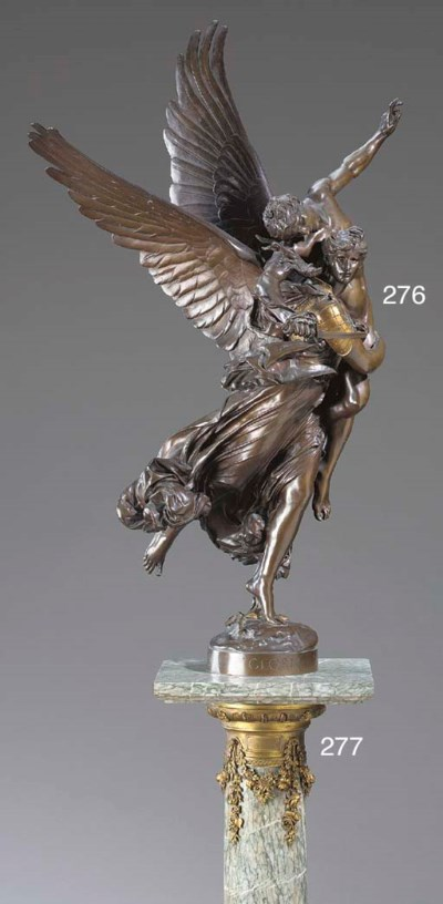 A French parcel-gilt bronze fi