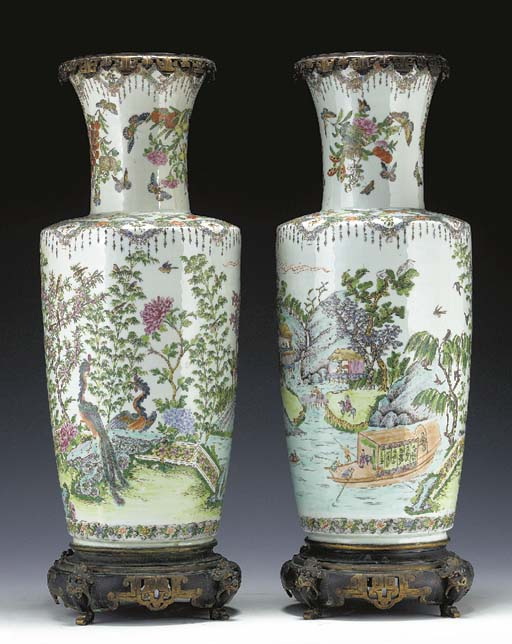 TWO BRONZE-MOUNTED PORCELAIN F